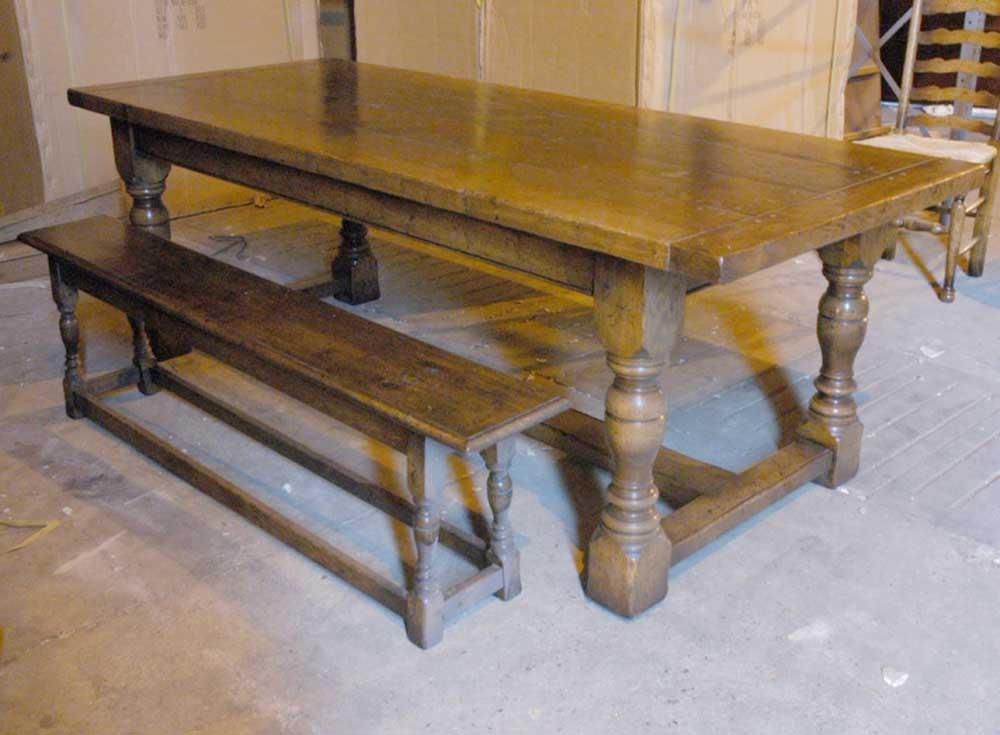 English abbey oak rustic refectory table bench dining set Oak bench