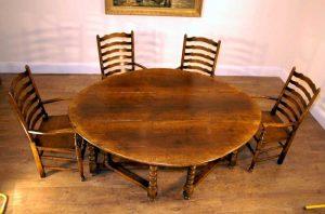 English Rustic Oak Gateleg Drop Leaf Table Barley Legs