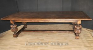 Large French Farmhouse Refectory Oak Table Dining Tables
